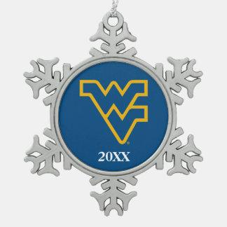 WVU Blue & Gold Snowflake Pewter Christmas Ornament