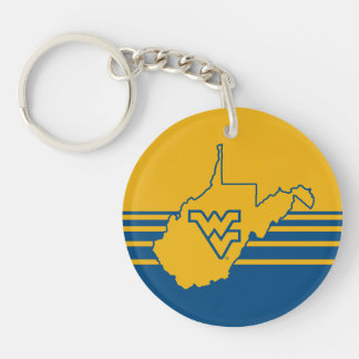 WVU en el estado de Virginia Occidental Llavero Redondo Acrílico A Doble Cara