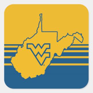 WVU en el estado de Virginia Occidental Pegatina Cuadrada