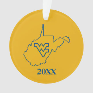WVU in state of West Virginia Ornament