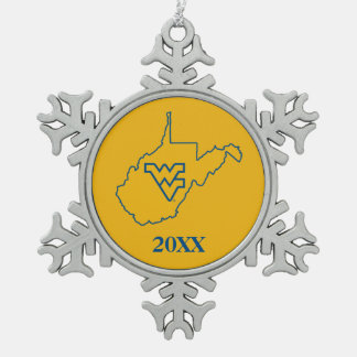 WVU in state of West Virginia Snowflake Pewter Christmas Ornament