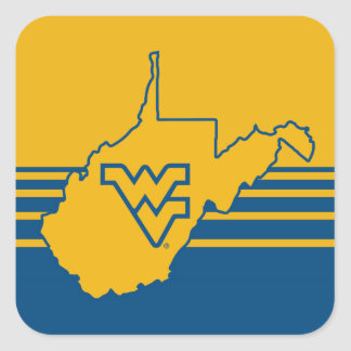 WVU in state of West Virginia Square Sticker