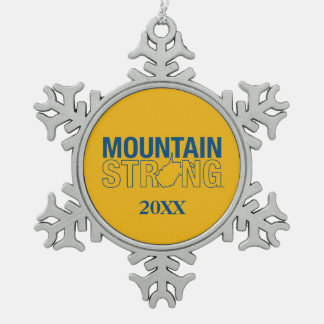 WVU Mountain Strong Snowflake Pewter Christmas Ornament