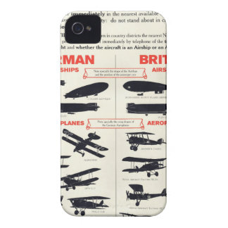 WW1 Aircraft Recognition Poster Case-Mate iPhone 4 Cases
