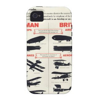 WW1 Aircraft Recognition Poster iPhone 4 Case