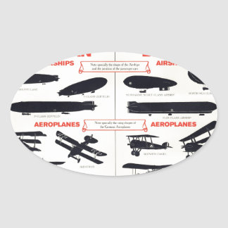 WW1 Aircraft Recognition Poster Oval Sticker