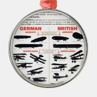 WW1 Aircraft Recognition Poster Round Metal Christmas Ornament