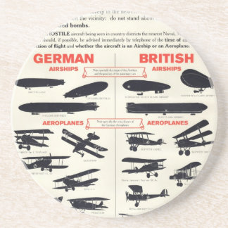 WW1 Aircraft Recognition Poster Sandstone Coaster