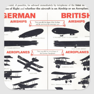 WW1 Aircraft Recognition Poster Square Sticker