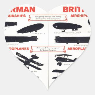 WW1 Aircraft Recognition Poster Heart Sticker