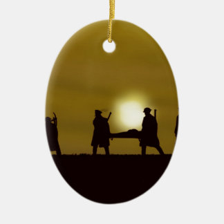 WW1 British Heroes Double-Sided Oval Ceramic Christmas Ornament