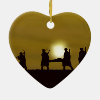 WW1 British Heroes Double-Sided Heart Ceramic Christmas Ornament