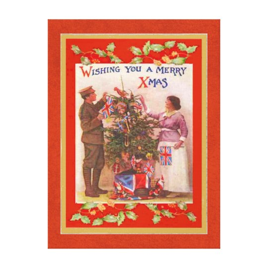 WW1 British Soldier Merry Christmas Vintage Canvas Print