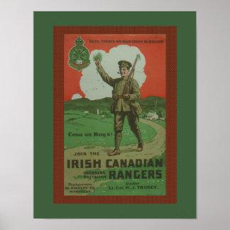 """WW1 Irish Canadian Rangers"" Posters"