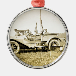 WW1 Military Round Metal Christmas Ornament