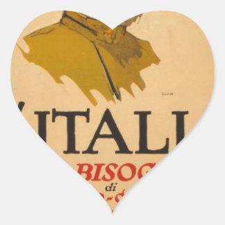 ww1 poster italia propaganda heart sticker