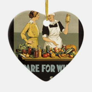 ww1 poster Waste_not_want_not Double-Sided Heart Ceramic Christmas Ornament