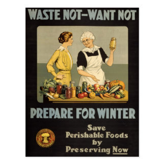 ww1 poster Waste_not_want_not Tarjetas Postales