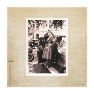 WW1 Retro Vintage Red Cross Nurse with Antique Car Canvas Print