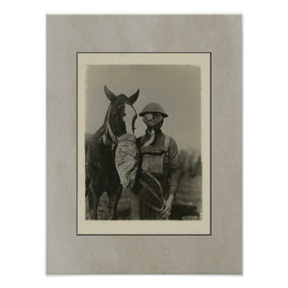 WW1 Soldier and Horse with Gas Masks Print