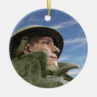 WW1 Soldier in Helmet and Trench Coat Double-Sided Ceramic Round Christmas Ornament