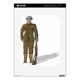 WW1 soldier Marine Sketch iPad 3 Skins