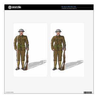 WW1 soldier Marine Sketch Kindle Fire Decals