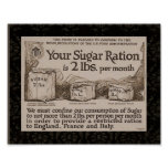 WW1 Sugar Ration Vintage Poster