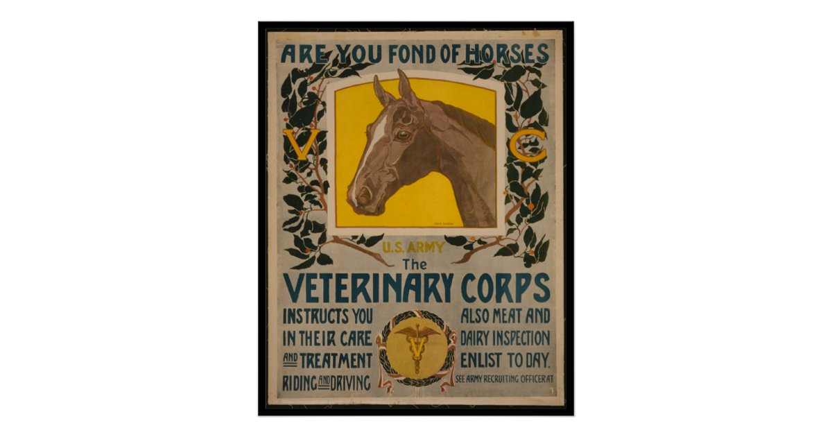 Veterinary Corps US Army World War I Vintage Art Print POSTER