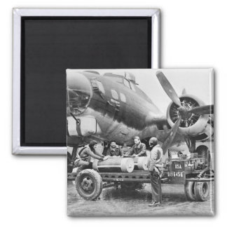 WW2 Airplane and Crew: 1940s 2 Inch Square Magnet