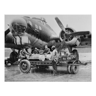 WW2 Airplane and Crew: 1940s Poster