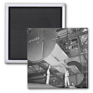 WW2 Airplane Factory, 1940s 2 Inch Square Magnet