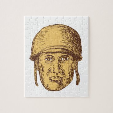 WW2 American Soldier Head Drawing Jigsaw Puzzle