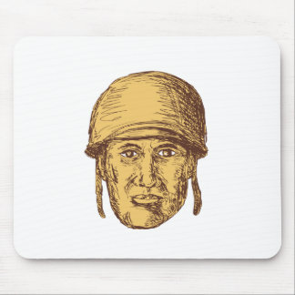 WW2 American Soldier Head Drawing Mouse Pad