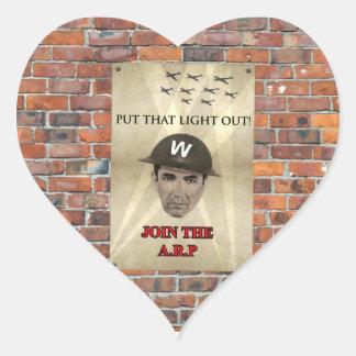 WW2 ARP Recruiting Poster Heart Sticker