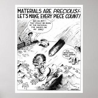 WW2 -- Dibujo animado material de la protección Poster