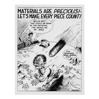WW2 -- Material Conservation Cartoon Poster