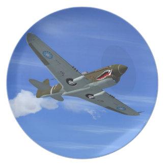 WW2 P40 Kitthawk Fighter Plane Plate