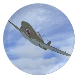 WW2 P40 Kitthawk Fighter Plane Plate