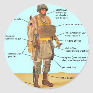WW2 Paratrooper Classic Round Sticker