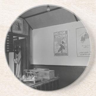 WW2 post office b&w Drink Coasters