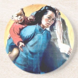 WW2 poster: China shall have our help! Beverage Coaster