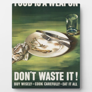 WW2 poster: Rationing food is a weapon! Display Plaques