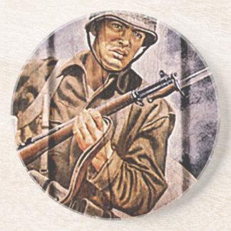 WW2 Poster Soldier Beverage Coasters