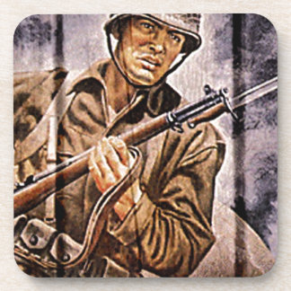 WW2 Poster Soldier Drink Coasters