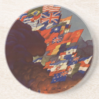 WW2 poster: The united nation fight for freedom Drink Coaster