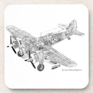 WW2 RAF Bristol Beaufighter Cutaway Beverage Coaster
