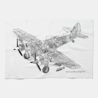 WW2 RAF Bristol Beaufighter Cutaway Hand Towels