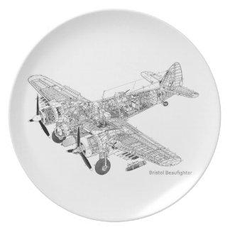 WW2 RAF Bristol Beaufighter Cutaway Party Plates