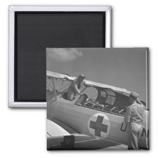 WW2 Red Cross Airplane 2 Inch Square Magnet